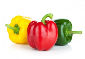 Colorful bell peppers. Isolated on white background